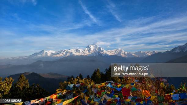 colorful flags with mountain range in distance - pokhara stock pictures, royalty-free photos & images