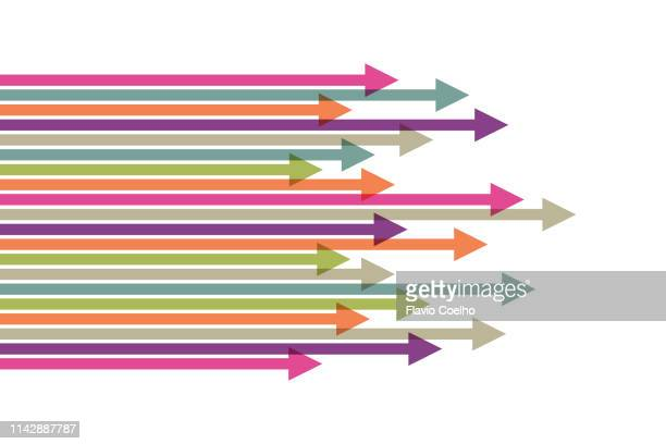 colorful flat arrows with different lengths pointing to the same side - arrow stock pictures, royalty-free photos & images