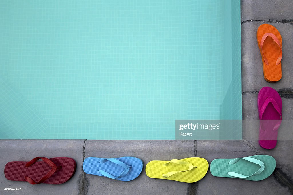 Colorful flip flop summer border : Stock Photo
