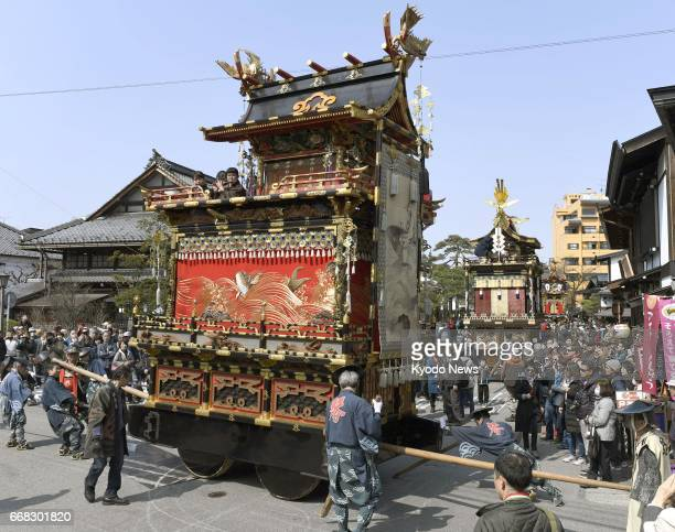 Colorful floats parade in the central Japan city of Takayama on April 14 the first day of the twoday annual Spring Takayama Festival one of 33...