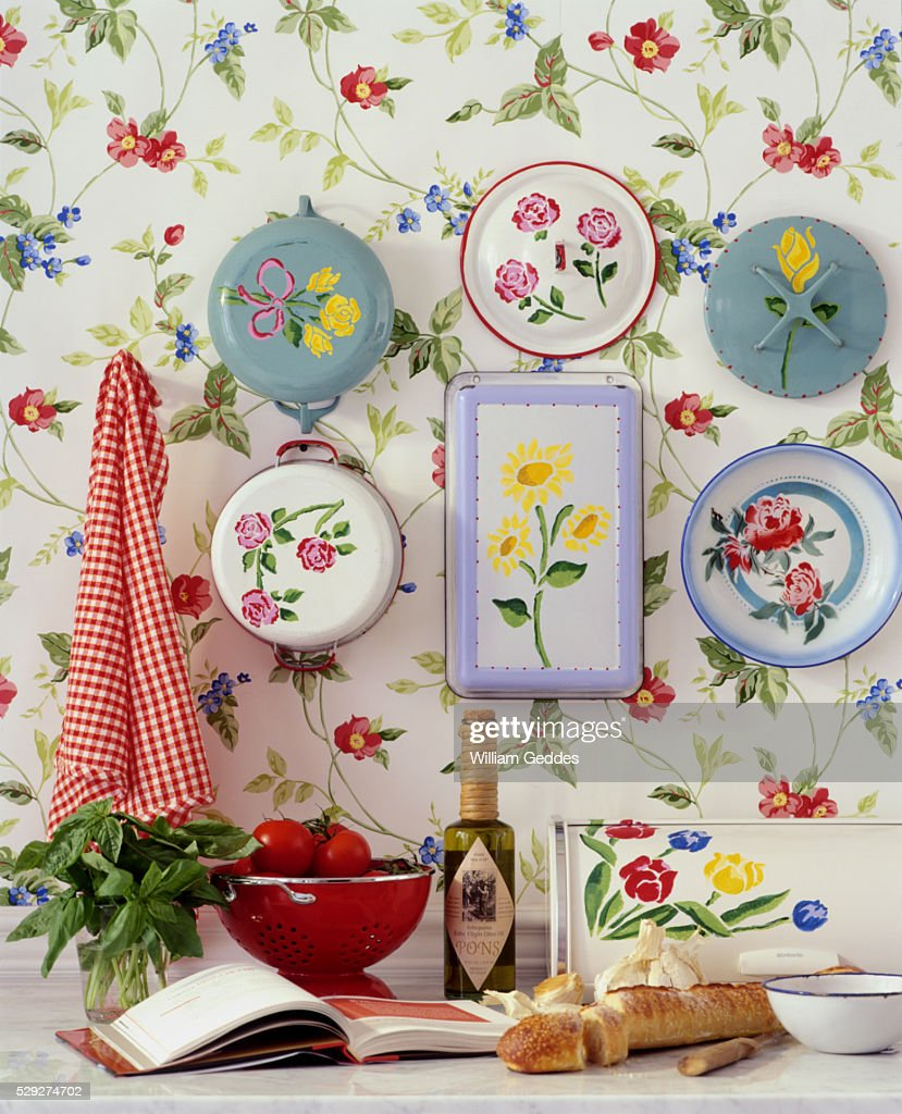 Colorful Floral Kitchen Wallpaper Hung With Pots And Plates High