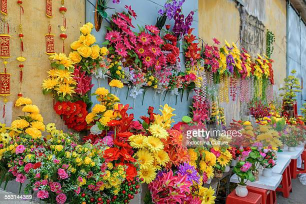 Colorful flower for sale at Binh Dong market