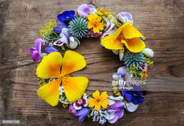 colorful flower wreath - summer solstice stock pictures, royalty-free photos & images