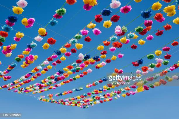 colorful flowers hanging over street in mexico - mexico stock pictures, royalty-free photos & images
