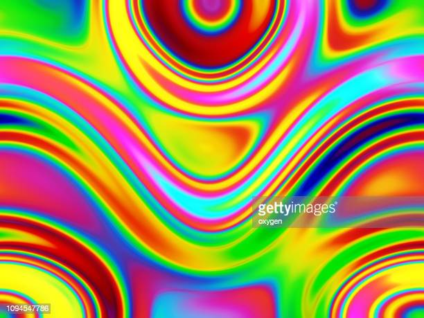 colorful flowing chromatic holographic dynamic waves - 虹 ストックフォトと画像