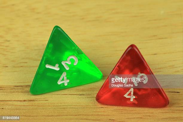 Colorful four sided Dice