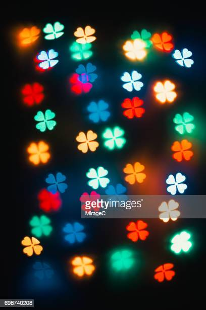 Colorful Four-leaf Clover Bokeh