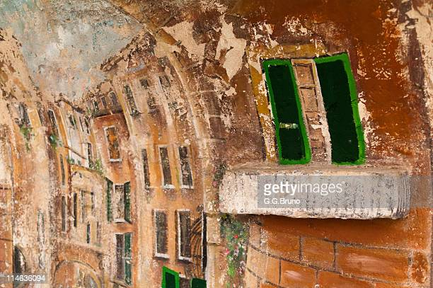 colorful fresco on outdoor wall of sanremo - san bruno stock pictures, royalty-free photos & images