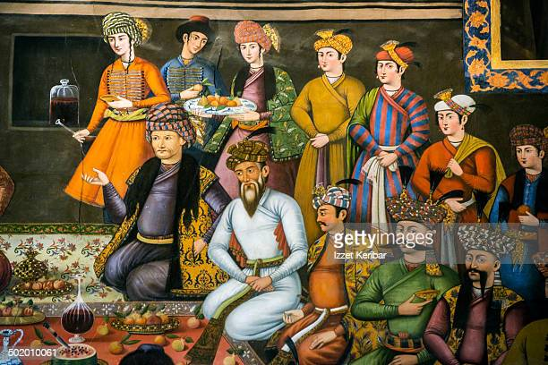 colorful frescoes of forty columns palace - iranian culture stock pictures, royalty-free photos & images