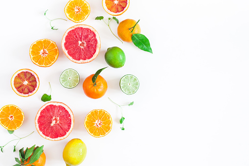 Colorful fresh fruits on white table. Flat lay, top view 917174426