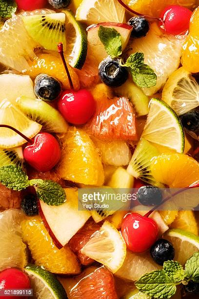 Colorful fruit and syrup