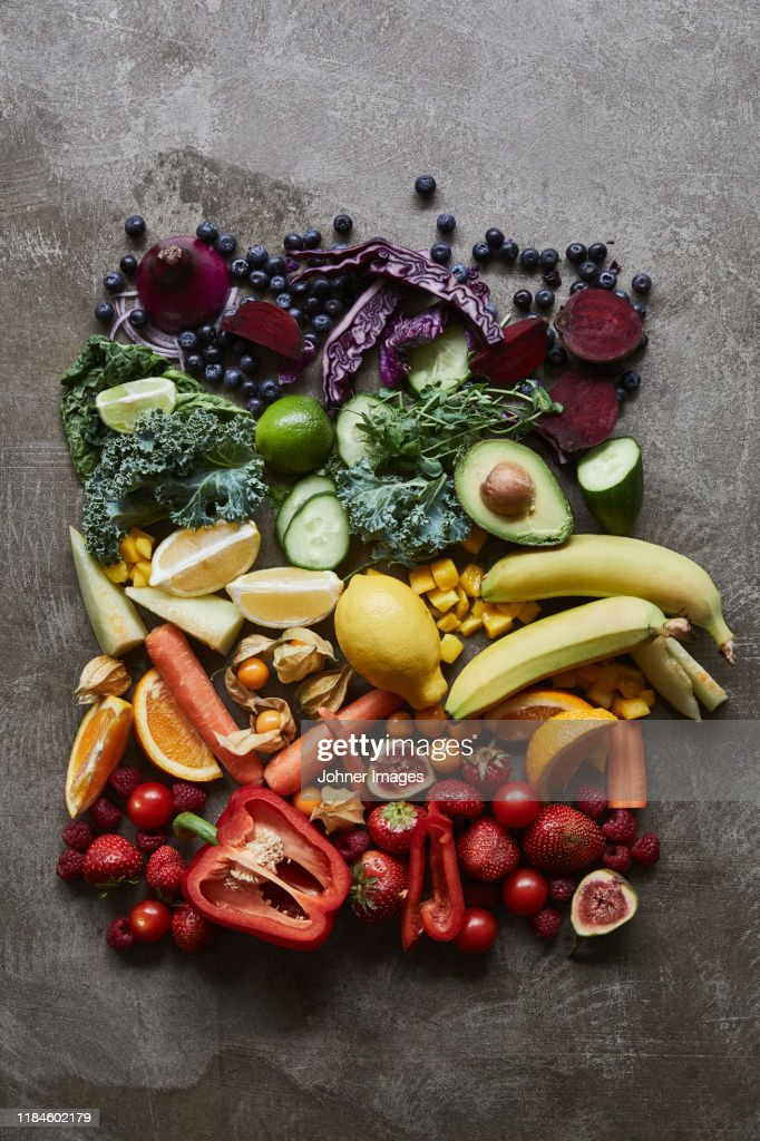 Colorful fruits and vegetables : Stockfoto