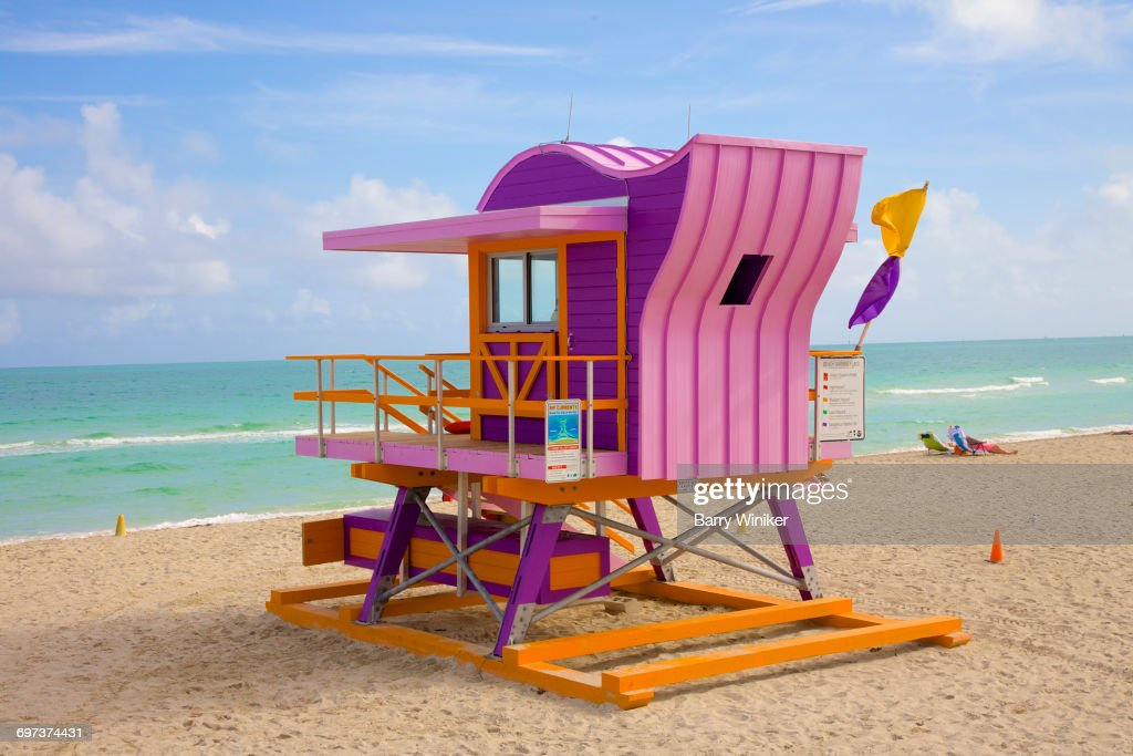 colorful funky lifeguard stand miami beach stock photo getty images