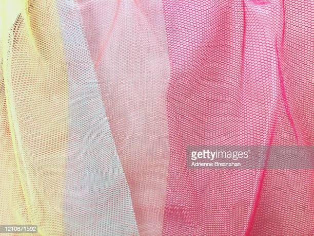 colorful gauze fabric - tulle netting stock pictures, royalty-free photos & images