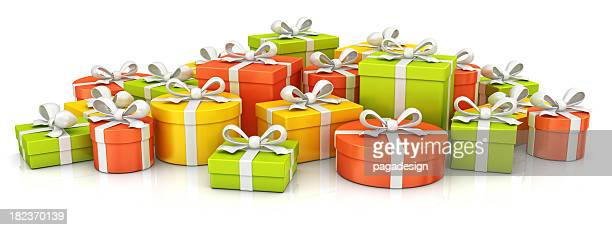 colorful gift boxes heap - birthday gift stock pictures, royalty-free photos & images