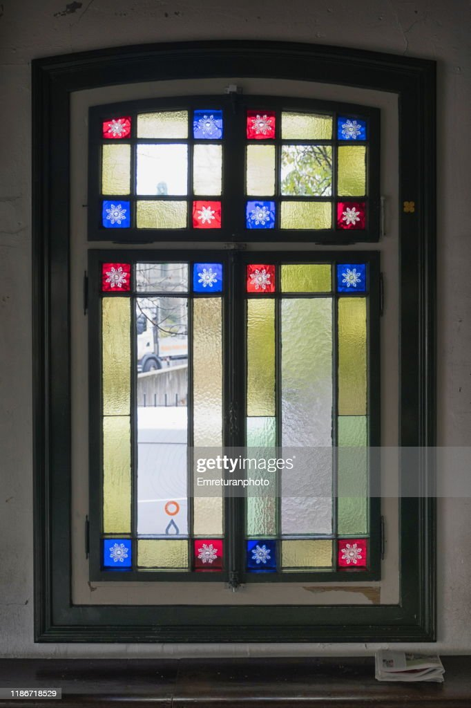 Colorful glass window details of polybahn building,Zurich. : Stock Photo