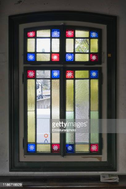 colorful glass window details of polybahn building,zurich. - emreturanphoto stock pictures, royalty-free photos & images