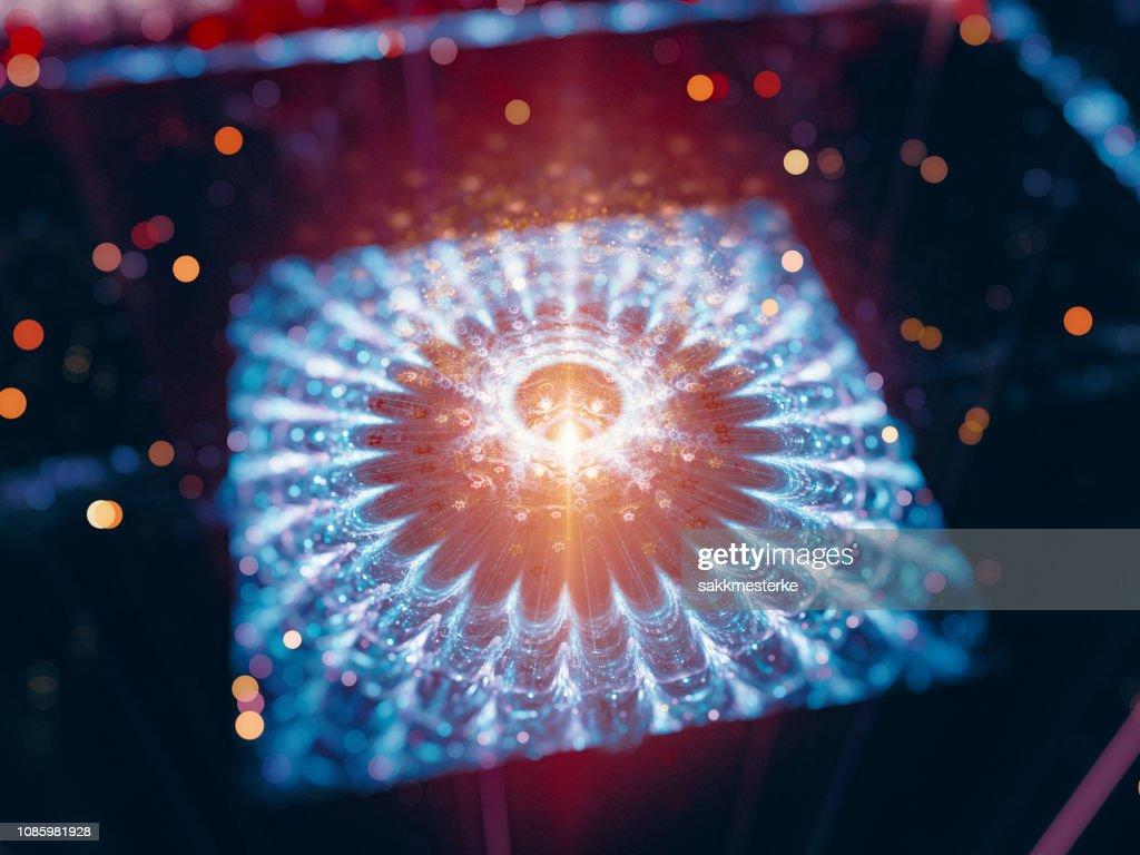 Colorful glowing futuristic quantum processor : Stock Photo