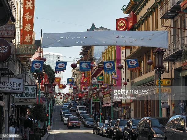 Colorful Grant Avenue In San Francisco Chinatown, California
