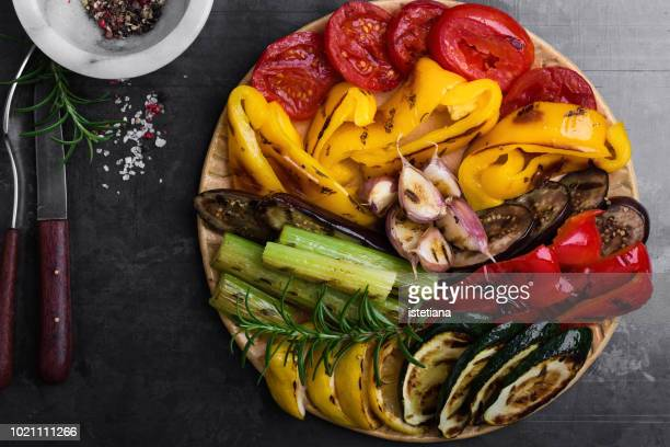 colorful grilled seasonal vegetables - roasted pepper stock photos and pictures