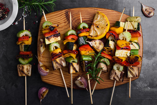 Colorful grilled summer seasonal vegetables skewers - gettyimageskorea