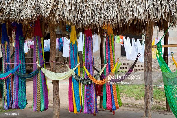colorful hammocks for sale under a palapa - timothy hearsum stock-fotos und bilder