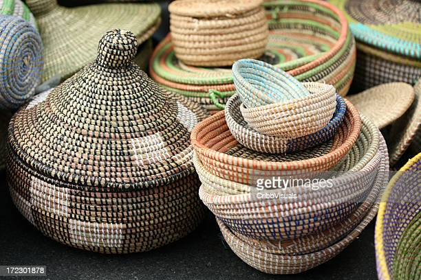 Colorful handmade African Sea Grass Baskets