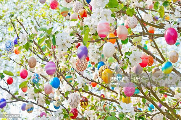 colorful handmade eastereggs on an apple tree - easter stock pictures, royalty-free photos & images