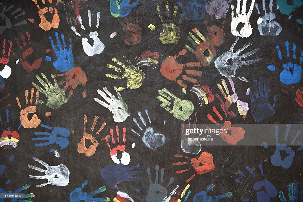 colorful handprints : Stock Photo