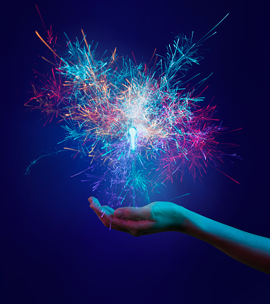 Colorful hands and sparks - gettyimageskorea