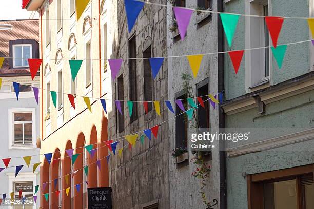 Colorful, happy bunting garland in Regensburg, Bavaria