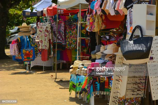 Colorful hats and fabrics for sale in town of Paraty, Rio de Janeiro