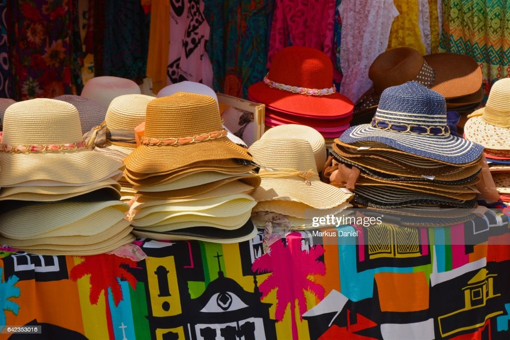 Colorful hats and fabrics for sale in town of Paraty, Rio de Janeiro : Stock Photo