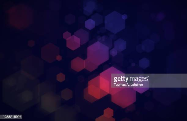 colorful hexagons on dark blue background - design element stock pictures, royalty-free photos & images