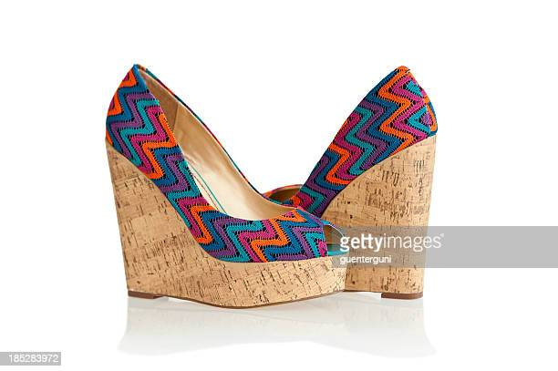 Colorful high heels in fashionable wedge style