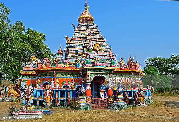 colorful hindu temple in chariot shape - chariot wheel stock photos and pictures
