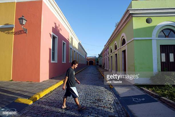 Colorful homes line the cobblestoned streets April 25 2004 in Old San Juan the original capital city of San Juan Puerto Rico The old city is a...