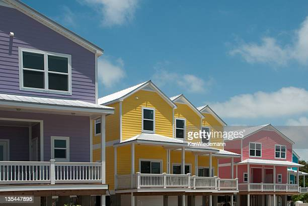 colorful homes on the keys - key west stock photos and pictures