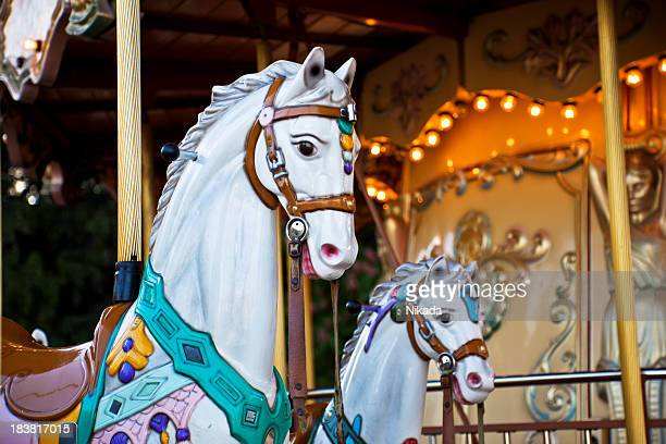 Colorful horses on a carousel in Paris, France