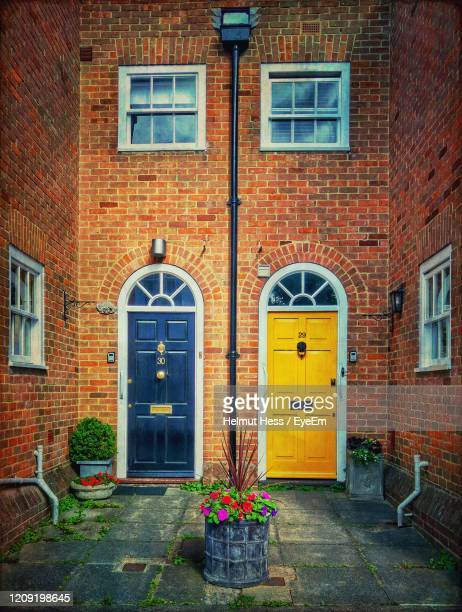 colorful house entrance in canterbury - door stock pictures, royalty-free photos & images