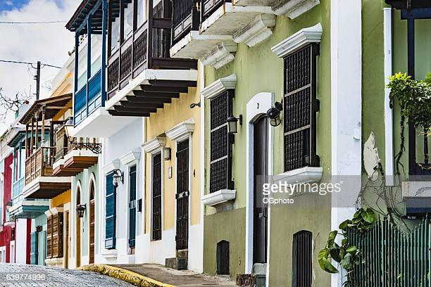 Colorful house facades of Old San Juan, Puerto Rico.