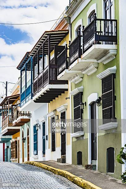 colorful house facades of old san juan, puerto rico. - ogphoto stock photos and pictures