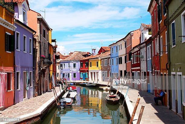 Colorful houses alone Canal in Burano, Italy