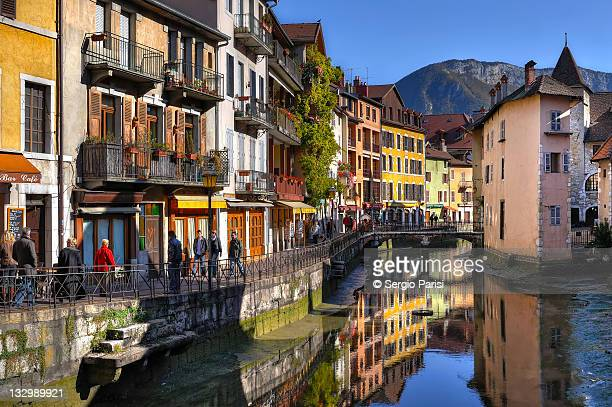 Colorful houses along canal in Annecy