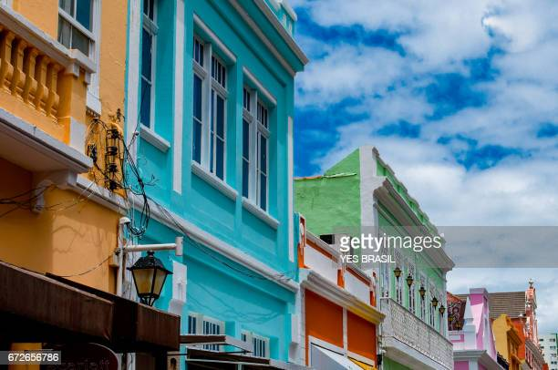 Colorful houses and restored located in the center of the city of Florianópolis