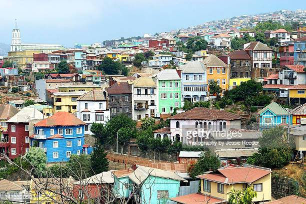Colorful houses and steep hills of Valparaíso