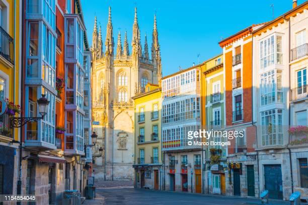 colorful houses and the burgos cathedral, burgos, spain - burgos stock-fotos und bilder