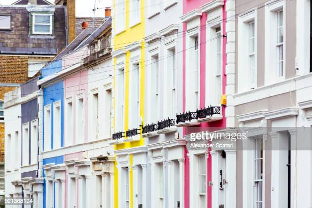 colorful houses at portobello road in notting hill, london, uk - stereotypically middle class stock photos and pictures