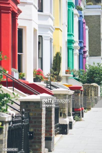 colorful houses at portobello road - notting hill stock pictures, royalty-free photos & images