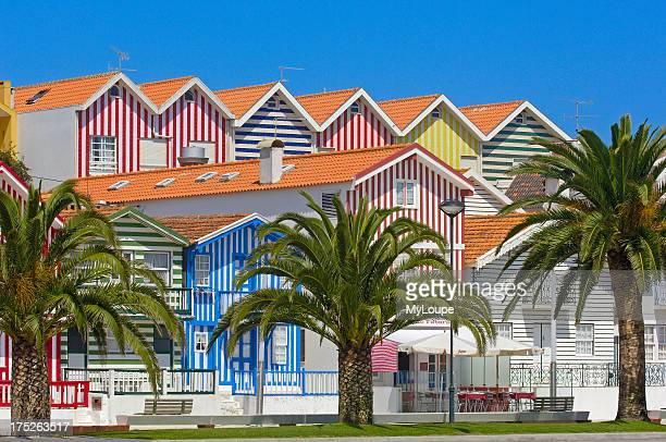 Colorful Houses Costa Nova Aveiro Beiras region Portugal